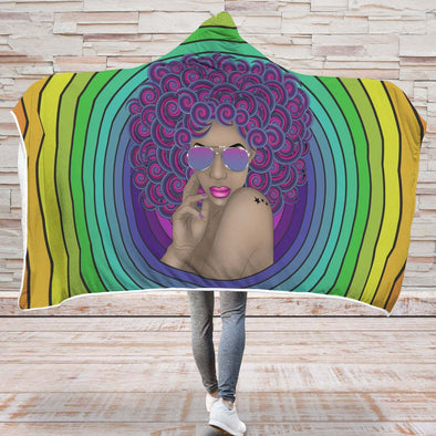 Afro Black Women Art Hooded Blanket - Afro Curly Woman Curly Hair Don't Care