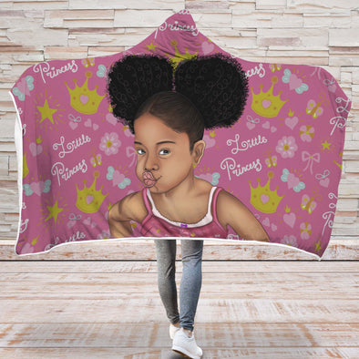 Melanin Poppin Kid Art Hooded Blanket - Afro Hair Little Princess Melanin Poppin Hooded Blanket