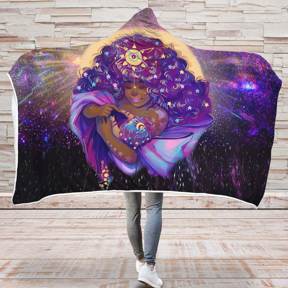 African American Women Art Hooded Blanket - Beauty Mother And Baby Galaxy Hooded Blanket