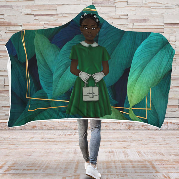 African American Kid Art Hooded Blanket Royal Twists Hair Black Girl Kid Green