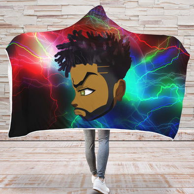 Black Boy Magic Hooded Blanket - Thunder Strong Short Hair Green Eyes Black Man