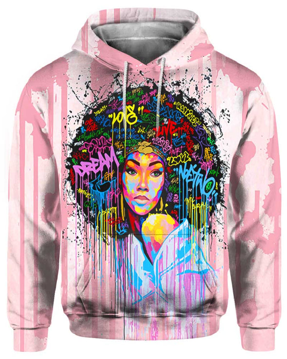 Natural Afro Colorful Word Art All Over Apparel