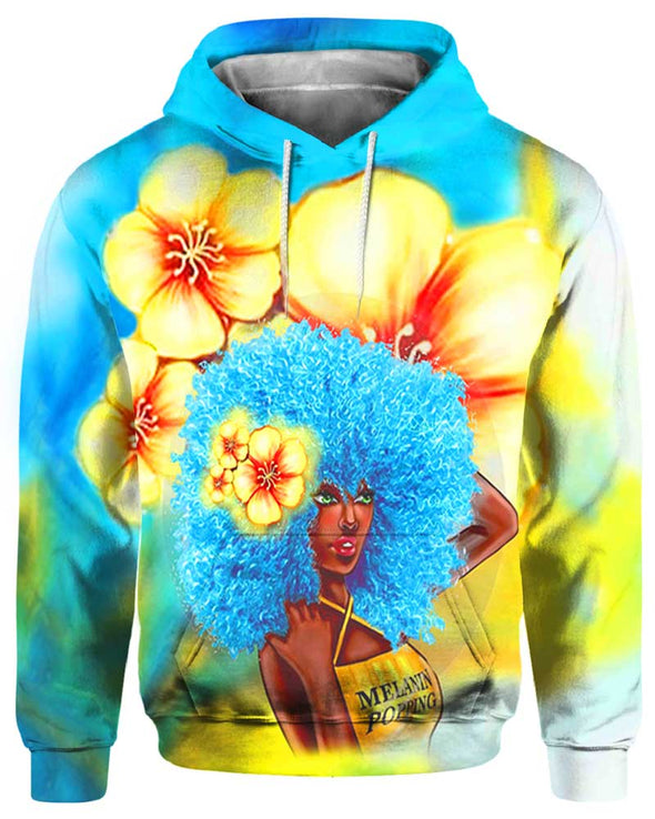 Blue Melanin Poppin Fro All Over Apparel