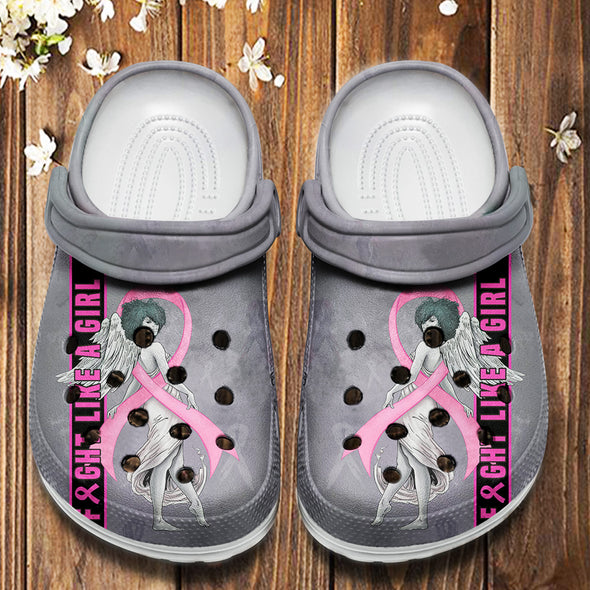 Fight Like A Girl Breast Cancer Awareness Crocs