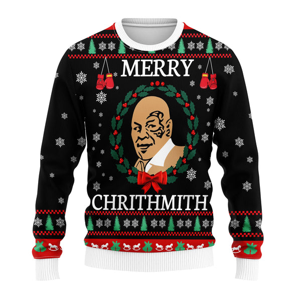 Black Men Christmas - Mike Tyson Merry Chrithmith Woolen Sweater