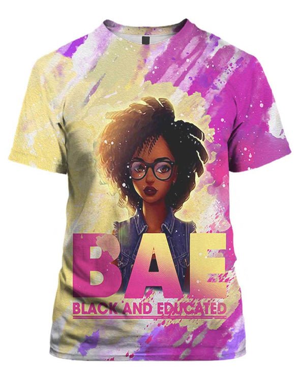 Black Educate All Over Apparel