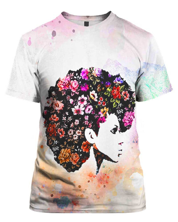 Naptural Hair Flower Art Style All Over Apparel
