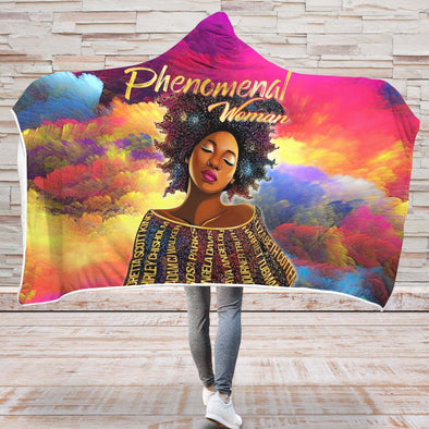 Black Women Art Hooded Blanket - Black History Phenomenal Woman Hooded Blanket
