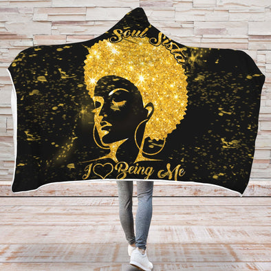 Black Women Art Hooded Blanket - Soul Sista I Love Being Me Hooded Blanket