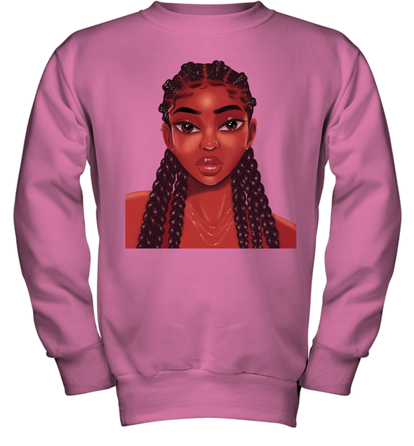 Natural Hair Goals Art Locs Long Hair Colorful Lovely Black Girl Youth Sweatshirt