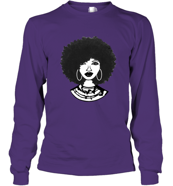 Black Women Art - Afro Natural Hair Black Beauty Long Sleeve T-Shirt
