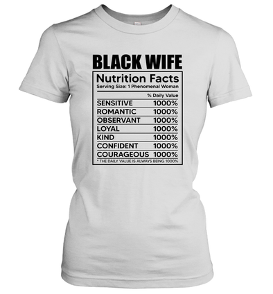Black Wife Nutrition Facts Women Short Sleeve
