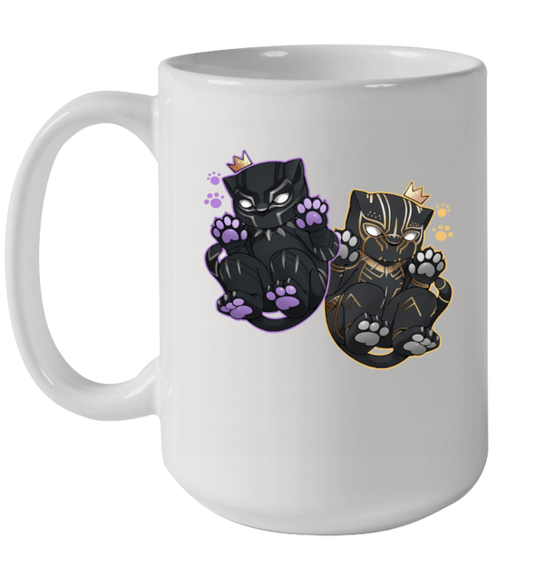 Black Fanther Cute Black Queen King Art Funny Chibi Characters Mug