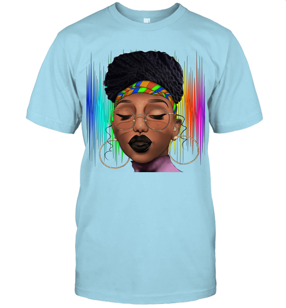 Black Woman Afro Natural Hair Headwraps Dreadlocks Pride T-Shirt