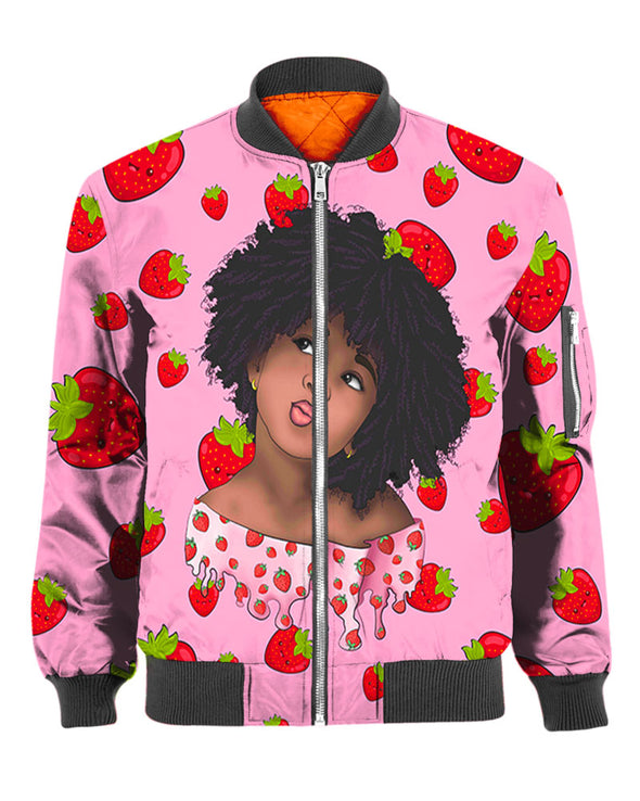 Cute Lovely Afro Kid Strawberry Pink Style All Over Apparel