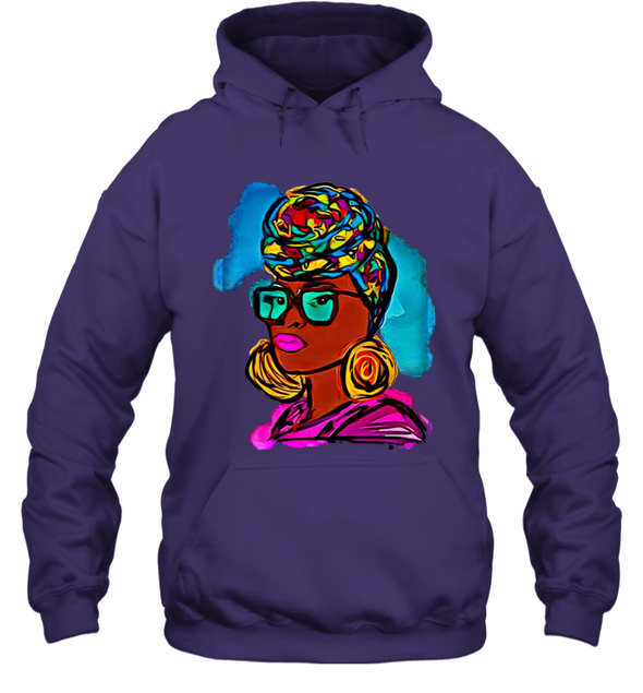 Afro Black Women Art - Headwrap Colorful Style Hoodie