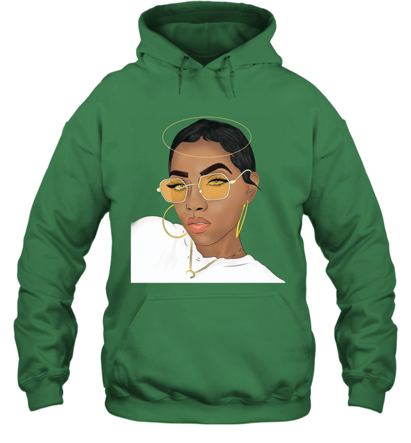 Black Girl Magic - Natural Short Hair Girl Style Hoodie