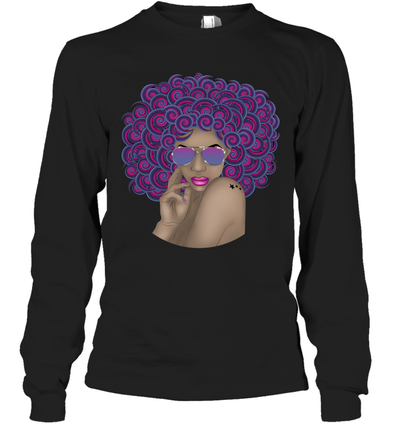 Afro Black Women Art - Afro Curly Woman Curly Hair Don't Care Long Sleeve T-Shirt