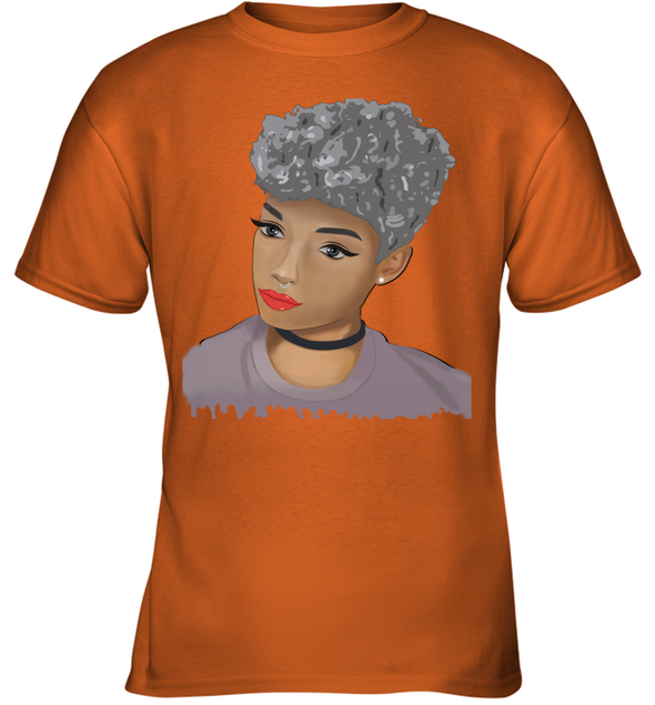 Black Women Art - Silver Short Hair Beauty Natural Youth T-Shirt