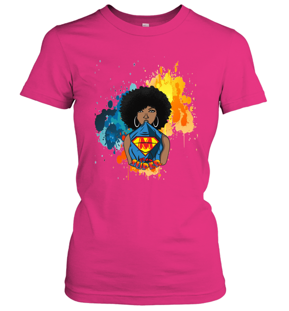 Mother's Day Gift - Afro Natural Black Super Mom Women's T-Shirt
