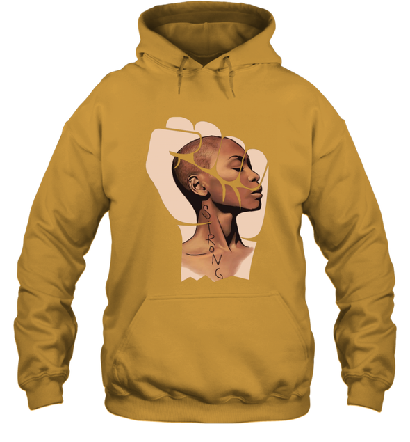 Black Women Art - Strong Afro Natural Short Hair Art Hoodie