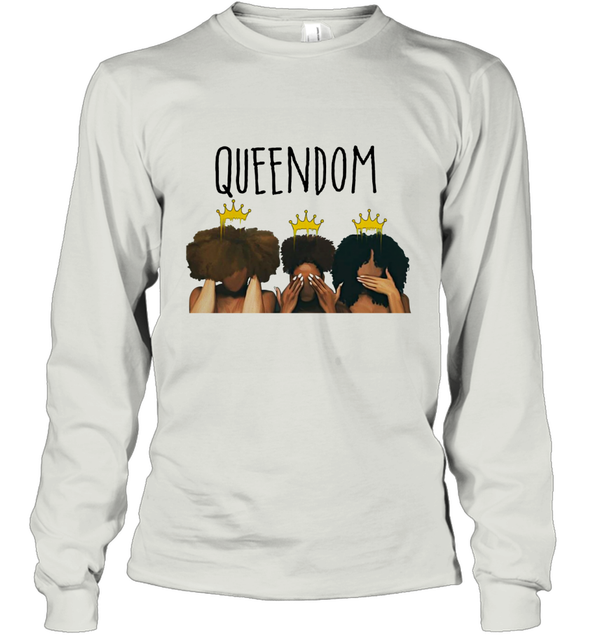 African American Women Art Black Queendom With Afro Melanin Poppin Hair Care Long Sleeve T-Shirt