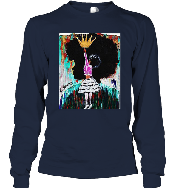 Black Girl Art - Afro Natural Hair Girl Queen Long Sleeve T-Shirt