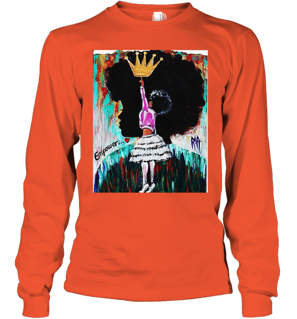 Black Girl Art - Afro Natural Hair Girl Queen Youth Long Sleeve