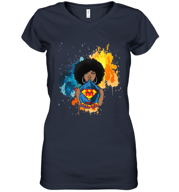 Mother's Day Gift - Afro Natural Black Super Mom Women's V-Neck T-Shirt