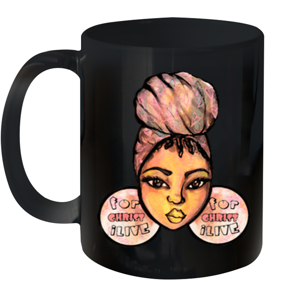 Afro Natural Hair Headwraps Women And Girl Mug