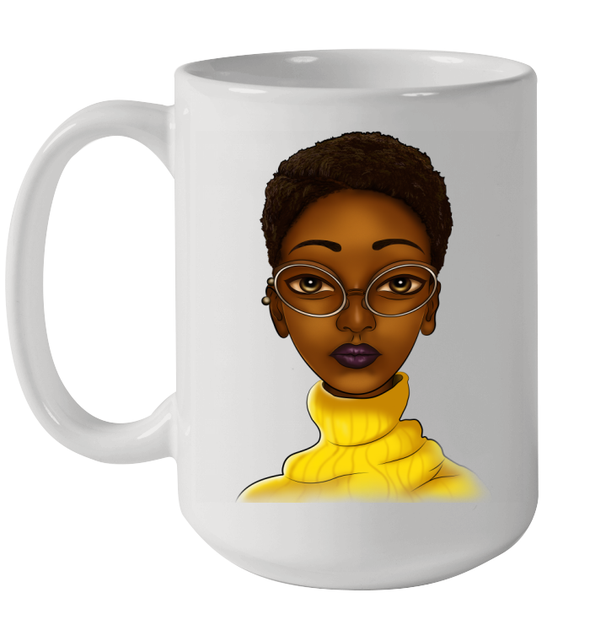 Black Women Art Short Hair Beauty Educated Brown Skin Mug
