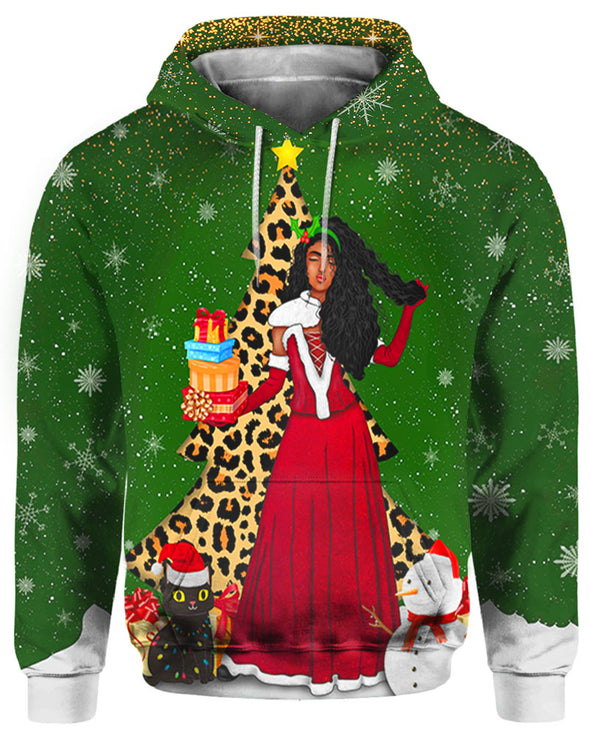 Black Girl Long Hair Claus Christmas Gift All Over Apparel