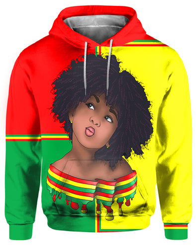 Vintage Color Red Yellow Green Hair Afro Girl All Over Apparel