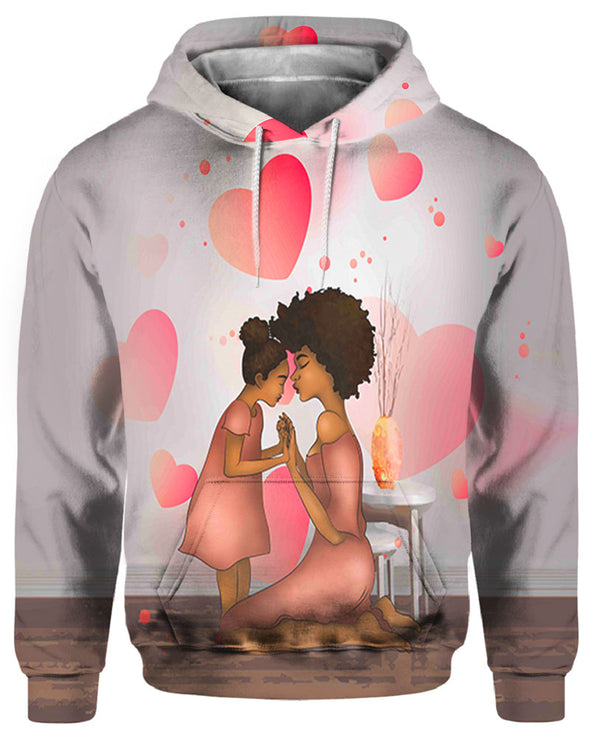 Black Family Art All Over Apparel Mom And Daughter Black Beauty Happiness Time