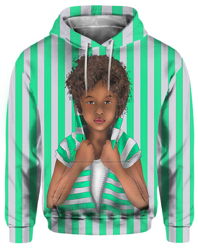 African Curly Hair Kid Vintage Green White All Over Apparel