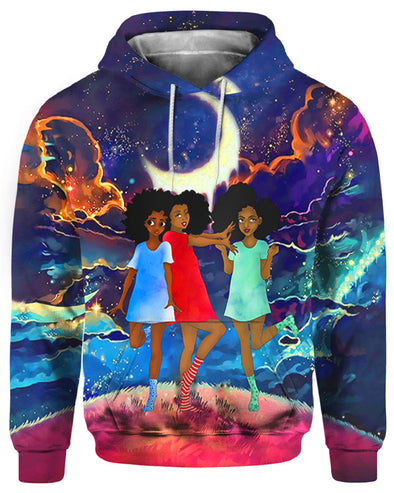 Black Kid Art Three Cute Beauty Lovely Young Girls Friends All Over Apparel