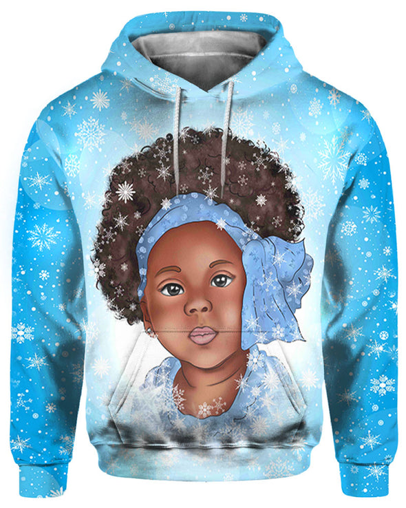 Afro Turban Nice Little Girl Winter Snow Flake All Over Apparel