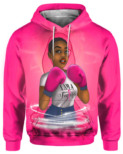 Black Women Artwork -  Breast Cancer Awareness I Am A Fighter All Over Apparel