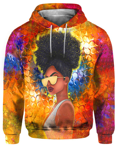Black Girl Art All Over Apparel Artwork Style Natural Curl Girl Cool Yellow Glasses