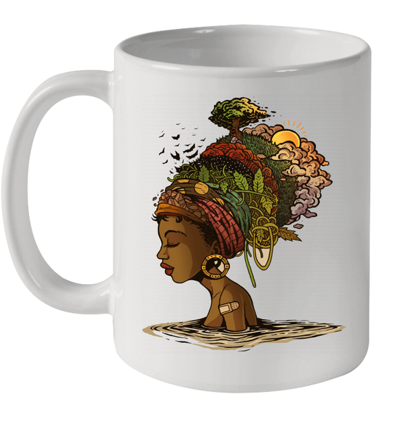 Afro Black Woman Headwrap Style African Natural Headwraps Women Mug