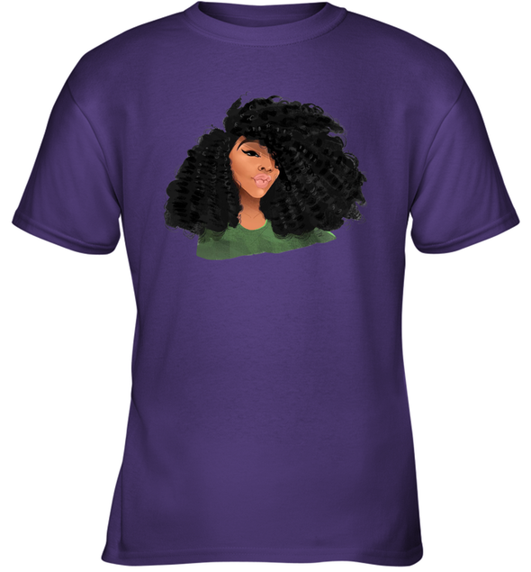 Black Curls Art - Afro Curly Girl Youth T-Shirt