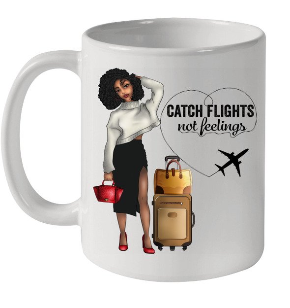 African American Kinky Curl Girl Flexible Trip Catch Flights Not Feelings Mug