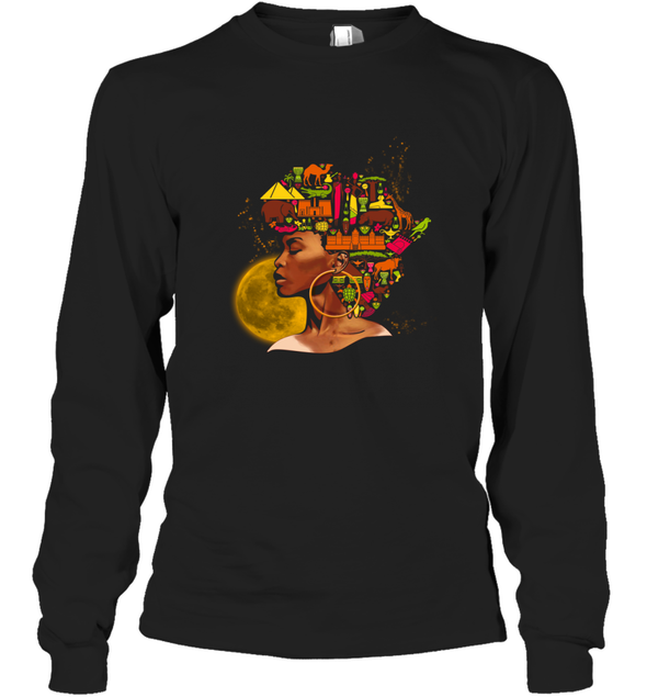 African Women Art - Black African Women Colorful Art Long Sleeve T-Shirt