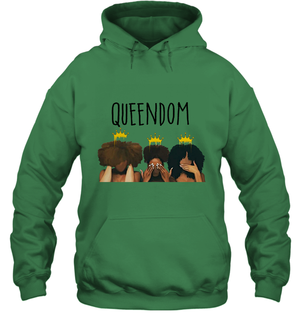 African American Women Art Black Queendom With Afro Melanin Poppin Hair Care Hoodie