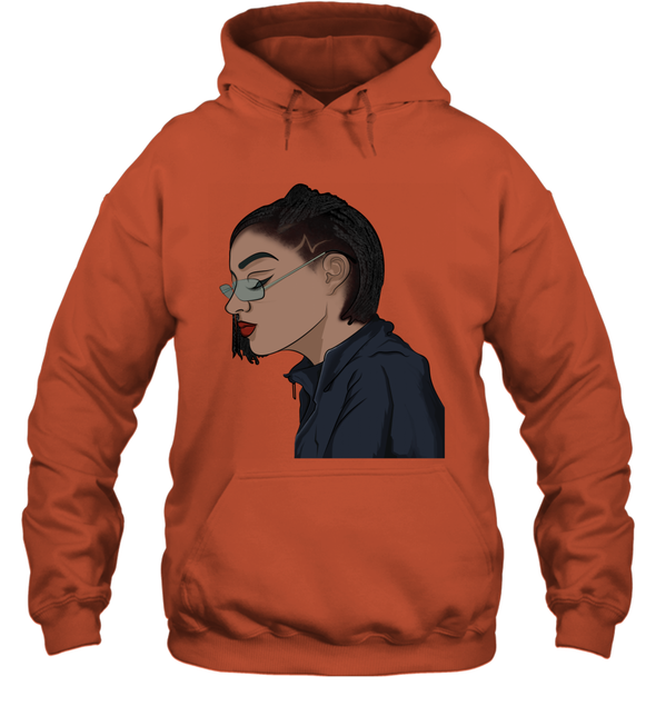 Black Cool Art - Freaking Cool Girl Dreadlock Short Hair Hoodie