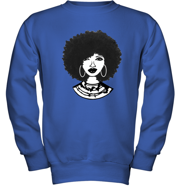 Black Women Art - Afro Natural Hair Black Beauty Youth Sweatshirt
