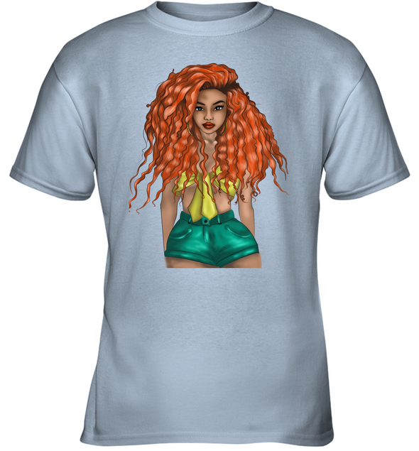 Curly Naptural Hair Art - Orange Long Curly Hair Cute Girl Youth T-Shirt