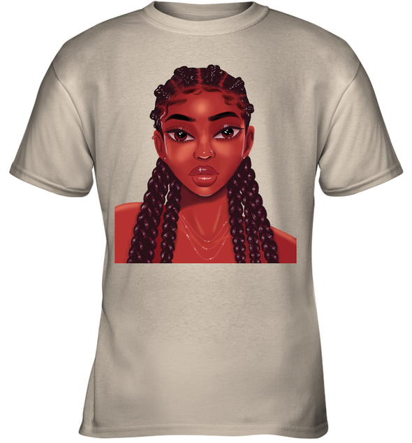 Natural Hair Goals Art Locs Long Hair Colorful Lovely Black Girl Youth T-Shirt