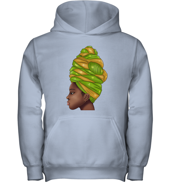 African Wear Art - Angela Green Yellow Flower Headwraps Women Youth Hoodie