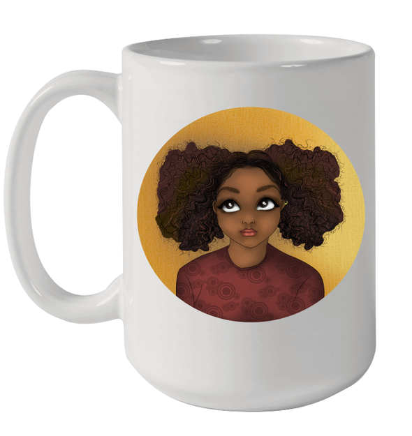 African American Kid Art Slight Yellow Afro Black Cute Girl Kid Mug